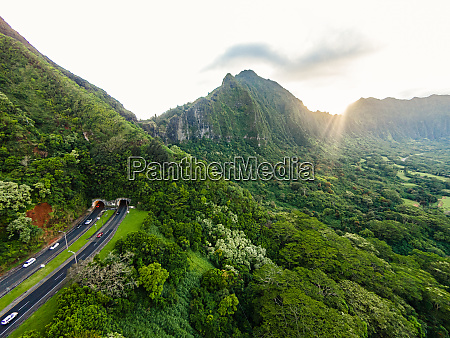 aerial view of pali highway from