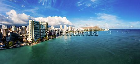 panoramic aerial view of waikiki beach