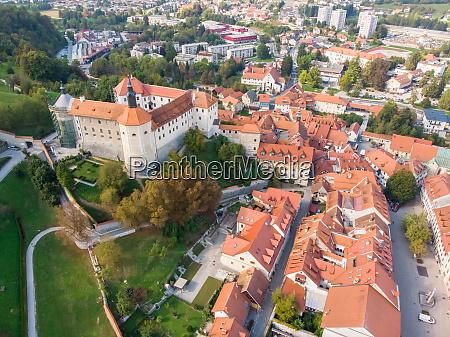 aerial view of skofja loka castle