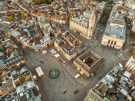 aerial view of lille historical downtown