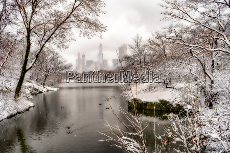 snowfall in central park new york