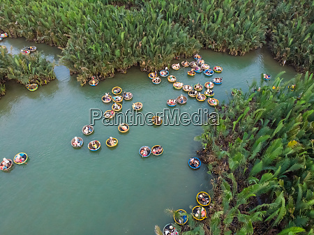 aerial view of tourists at coconut