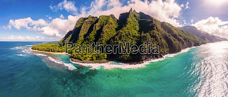 panoramic aerial view of kee beach