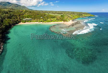 aerial view of papaa bay kauai