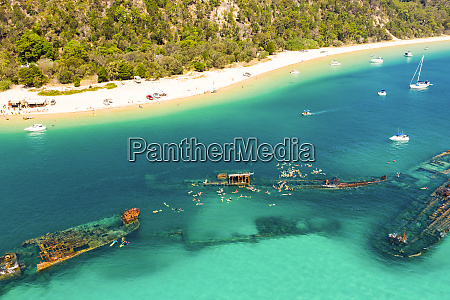 aerial view of the wrecks tangalooma