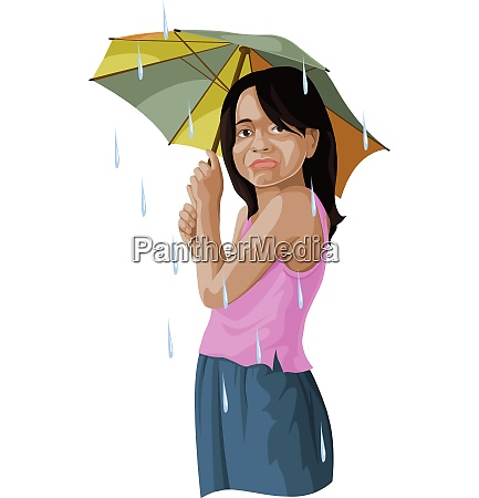 vector of girl with umbrella