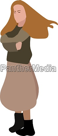 girl with long hair illustration vector