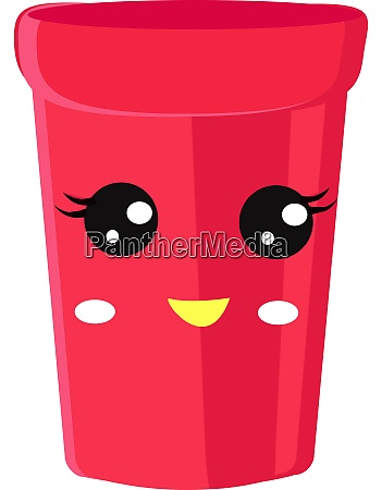 pink cup illustration vector on white
