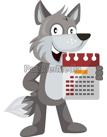 wolf with calendar illustration vector on