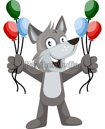 wolf with balloons illustration vector on