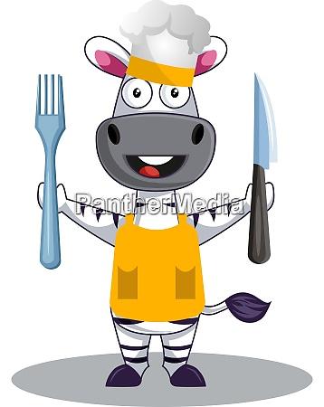 zebra cooking illustration vector on white