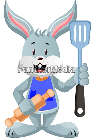 bunny with rolling pin illustration vector