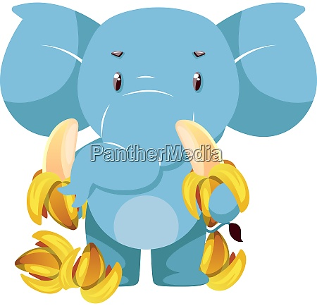elephant with bananas illustration vector on