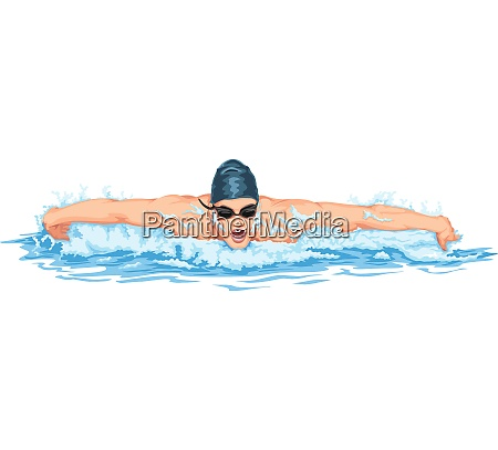 vector of man swimming