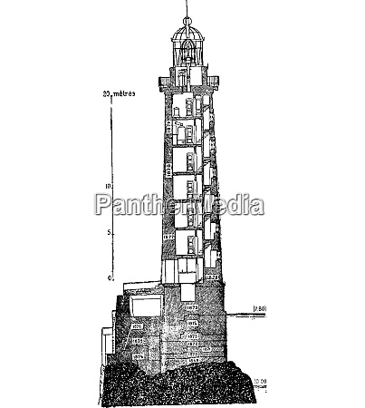 vertical section of ar men lighthouse