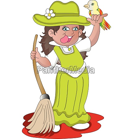 vector of girl holding broom and