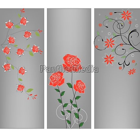 three illustrations with floral elements
