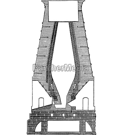 german blast furnace vintage engraved illustration