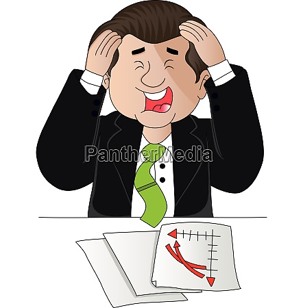 vector of businessman troubled with paperwork