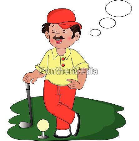 vector of golfer dreaming