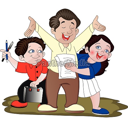 vector of family celebrating success