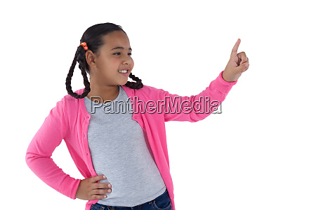 girl pretending to touch an invisible
