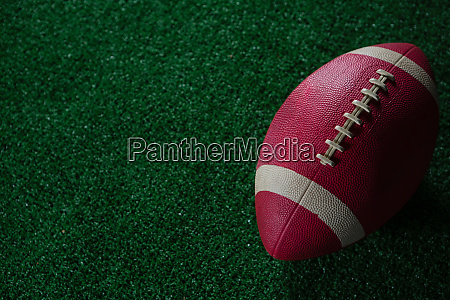 close up of american football on