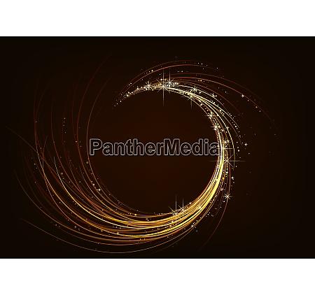 golden sparkling spiral on dark background