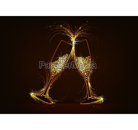 sparkling champagne glasses with glitter drink