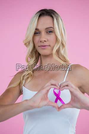 breast cancer awareness ribbon seen through