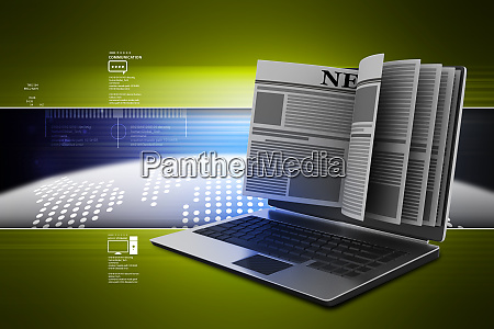 laptop computer with news in color