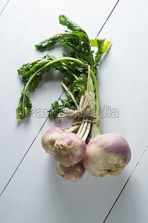 high angle view of turnip bunch