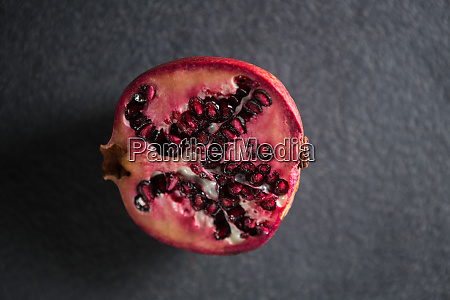 overhead view of pomegranate