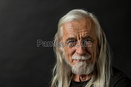 portrait of beautiful long gray hair