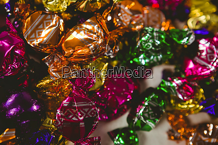 close up of colorful wrapped chocolates