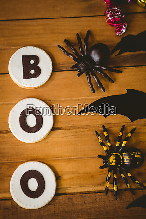 cookies with boo text by decorations