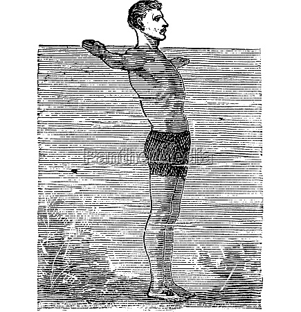 breaststroke third position vintage engraved illustration