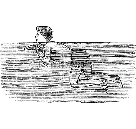 breaststroke fourth position vintage engraved illustration