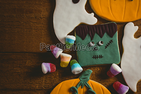 close up of cookies with candies
