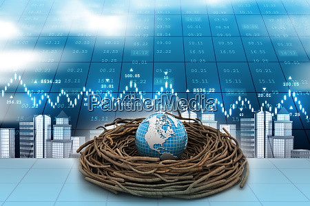 globe on nest in color background
