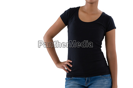 mid section of woman in casual