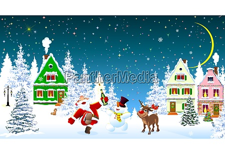 santa claus snowman deer celebrate christmas
