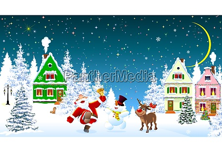santa claus snowman deer celebrate christmas
