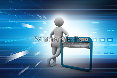 man standing near the internet