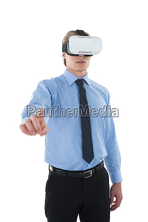 businessman gesturing using wearable computer