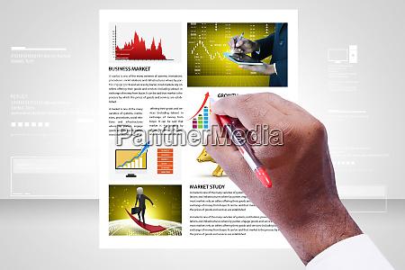 man showing stock market news