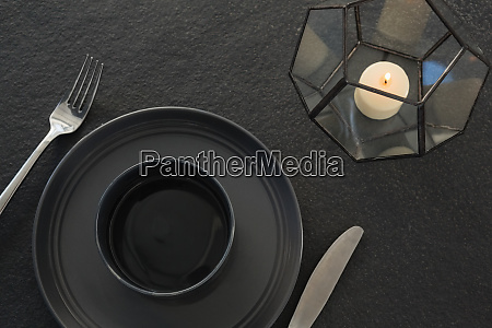 black theme table setting