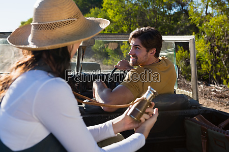 man with woman in off road