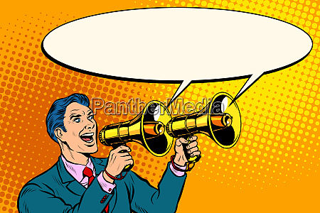 businessman with a megaphone announcement advertising