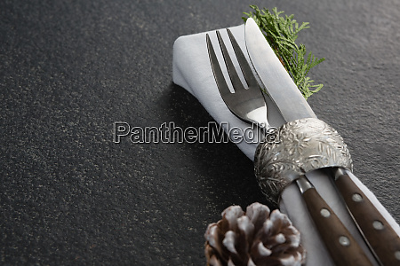 fork butter knife fern and napkin